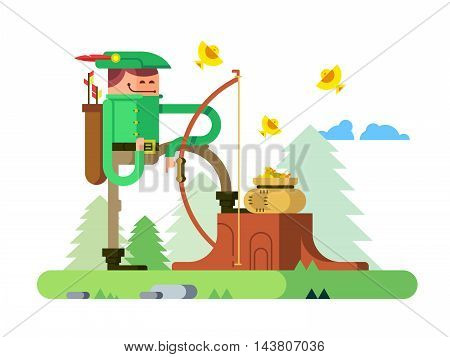 Character of Robin Hood. Arrow and bow, archer hero man, flat vector illustration