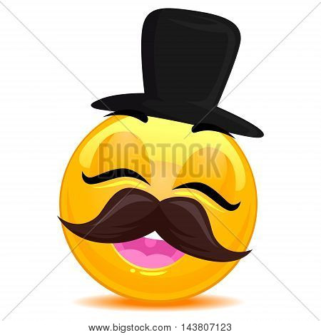 Vector Illustration of Smiley Emoticon with Hipster hat