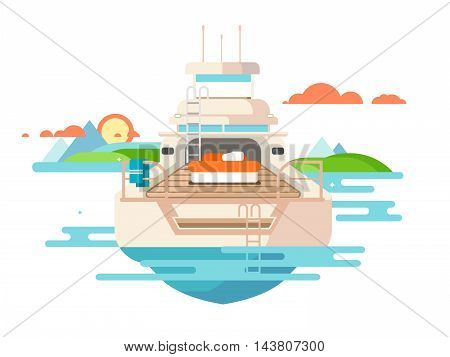 Yacht flat design. Ship travel, boat vessel transport, holiday transportation, flat vector illustration