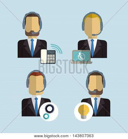 man headphone male laptop phone gear bulb customer service technical service call center icon set. Colorful and flat design. Vector illustration