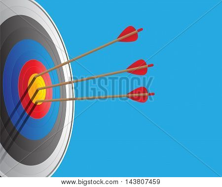 Vector archery target and arrows vector sport illustration.