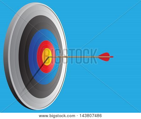 Vector archery target and arrow vector sport illustration.