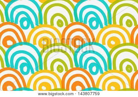 Marker Drawn Orange Blue Green Arcs