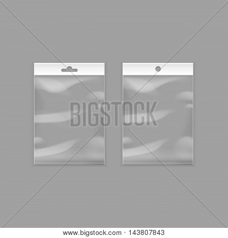 Vector Sealed Empty Transparent Plastic Pocket Bags with Hang Slot Close up Isolated on Background