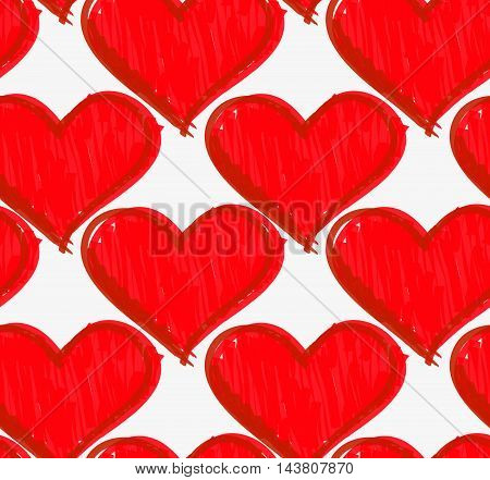 Marker Drawn Red Hatched Hearts
