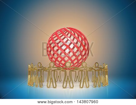 3D rendering Circle of golden people standing around the red globe joining together empowering the team to achieve the goal business concepts on blue gradient background with copy space.