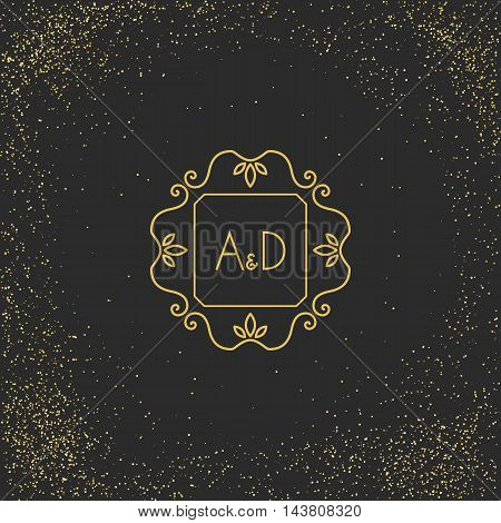 Vintage monogram on black background. Vector emblem for calligraphic luxury logos and retro ornamental design.