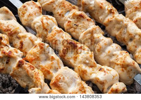 Barbecue skewers with meat on the brazier. Grill chicken shish kebab