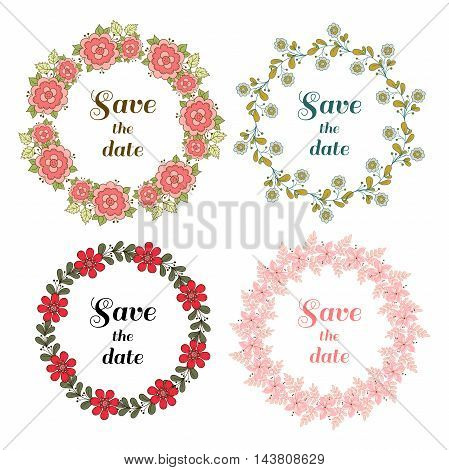 Set of wreaths made from different doodle flowers and leaves. Can be used for design of wedding invitation. Vector illustration.