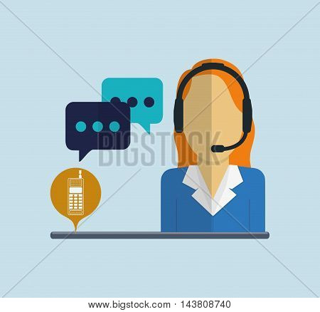 woman headphone bubble customer service technical service call center icon set. Colorful and flat design. Vector illustration