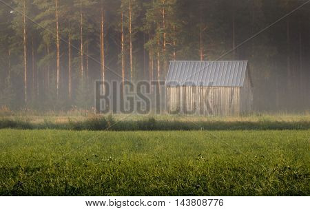 One barn in the middle of the fog in summer morning