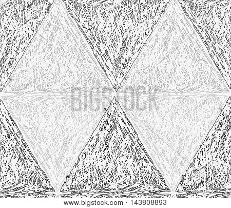 Pencil Hatched Light And Dark Gray Triangles In Row Forming Diamonds