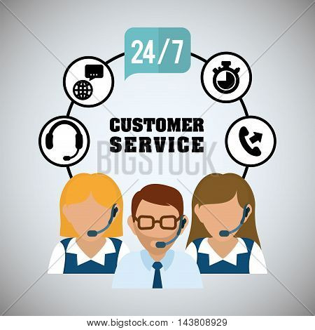 man woman headphone tools customer service technical service call center icon set. Colorful and flat design. Vector illustration