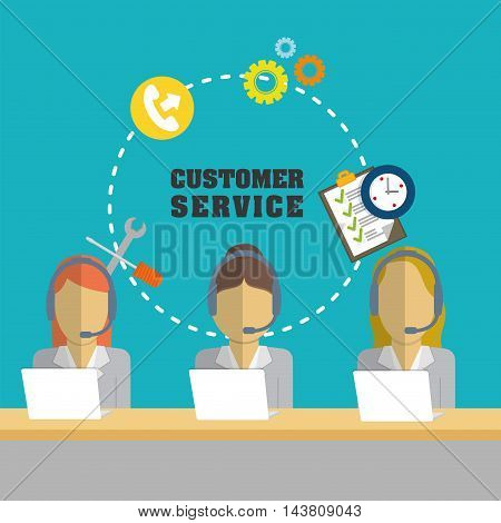 woman headphone laptop customer service technical service call center icon set. Colorful and flat design. Vector illustration
