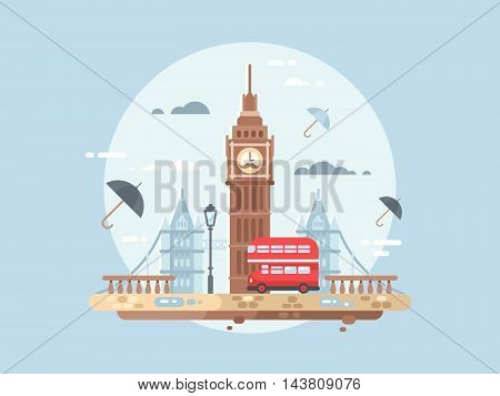 London city flat. Big ben tower and british bus, vector illustation