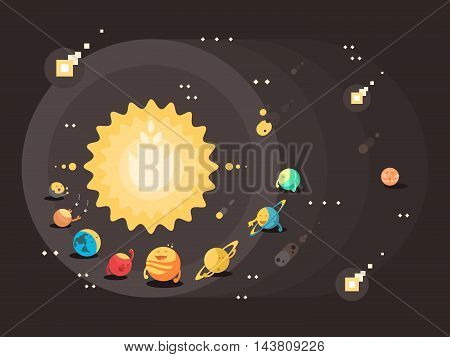 Solar system flat design. Sun with set of planets earth saturn and jupiter, vector illustration