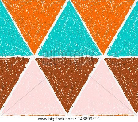 Pencil Hatched Orange Green And Brown Triangles