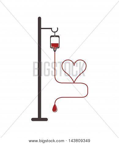 flat design blood bag icon and cartoon heart vector illustration