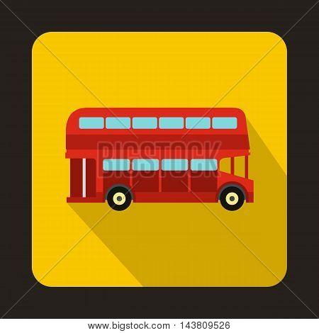 London double decker red bus icon in flat style on a yellow background