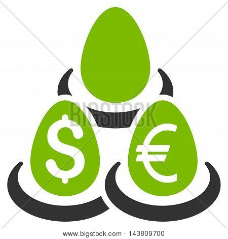 Currency Deposit Diversification icon. Vector style is bicolor flat iconic symbol with rounded angles, eco green and gray colors, white background.