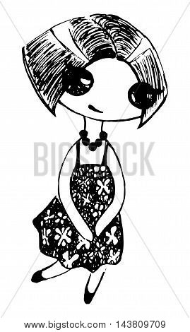 Monochrome cute girl in flower dress and beads sketch vector