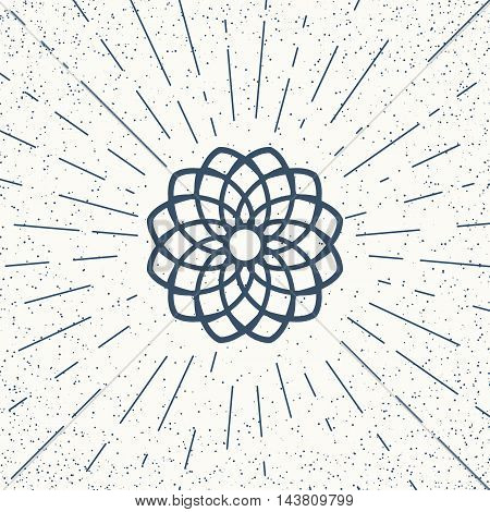 Asian linear mandala ornament. Vector decorative geometric symbol.