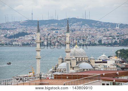 Panoramic view of Istanbul and Bosphorus Turkey