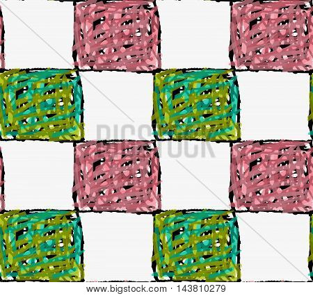 Artistic Color Brushed Black Scribbled Squares With Green And Pink