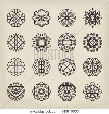 Vintage geometric ornaments set. Vector linear editable symbols on retro background