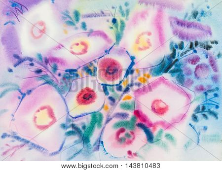 Abstract watercolor original painting purplepink color of morning glory flowers and green leaves in blue color background.