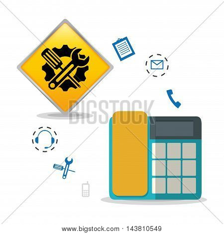 phone, tools, gear, customer service technical service call center icon set. Colorful and flat design. Vector illustration