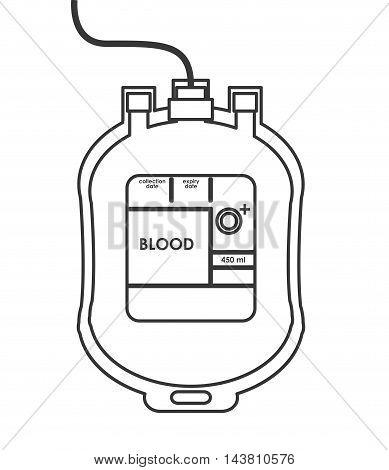flat design blood bag icon vector illustration