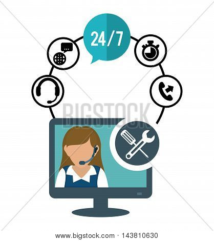 woman headphone tools computer customer service technical service call center icon set. Colorful and flat design. Vector illustration