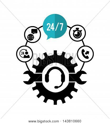 wrench headphone gear customer service technical service call center icon set. Colorful and flat design. Vector illustration