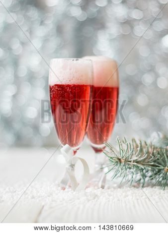 Pink Champagne And New Year Decorations.soft Focus