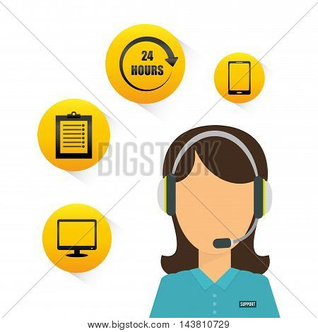 woman headphone computer smartphone customer service technical service call center icon set. Colorful and flat design. Vector illustration