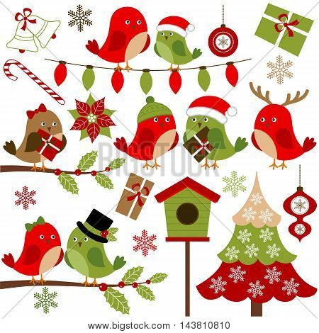 Vector Christmas birds with Christmas tree holly branches snowflakes and gifts