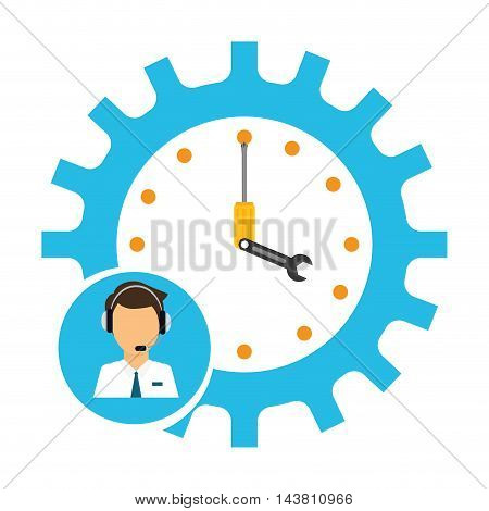 man headphone male gear clock tools customer service technical service call center icon set. Colorful and flat design. Vector illustration