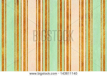 Watercolor Beige, Mint And Golden Striped Background