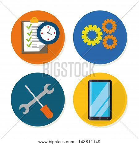 tools smartphone gears checklist customer service technical service call center icon set. Colorful and flat design. Vector illustration