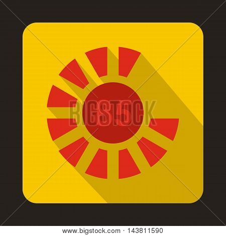 Circle loading, 85 percent icon in flat style on a yellow background