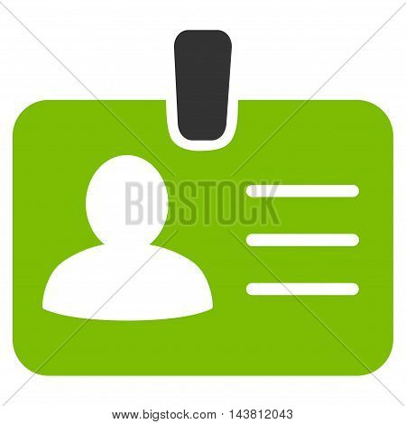Person Badge icon. Vector style is bicolor flat iconic symbol with rounded angles, eco green and gray colors, white background.