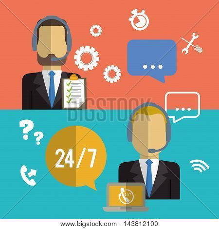 man headphone male bubble laptop customer service technical service call center icon set. Colorful and flat design. Vector illustration