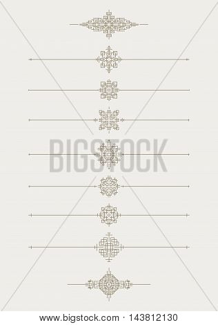 Set of 7 decorative vector mono line style text dividers with pair of bonus decorative elements.