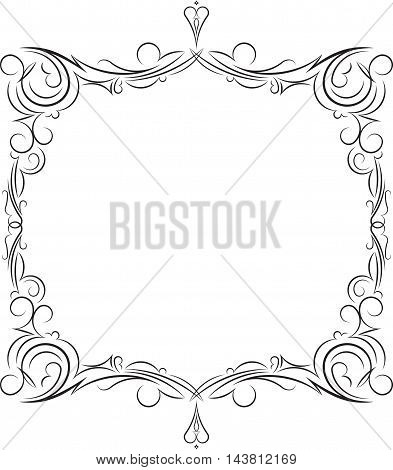 Unusual decorative lace ornament vintage frame with empty place for your text. Vector illustration greeting