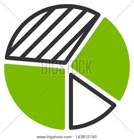 Pie Chart icon. Vector style is bicolor flat iconic symbol with rounded angles, eco green and gray colors, white background.