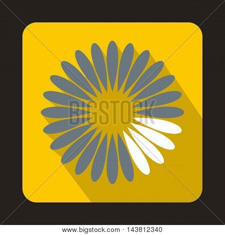 Loading circle icon in flat style on a yellow background