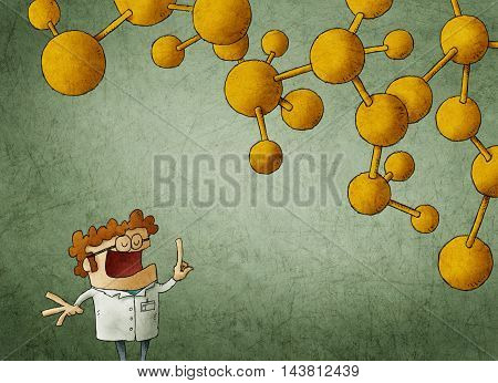 Illustration of scientist in glasses and robe with yellow nuclear chain above head