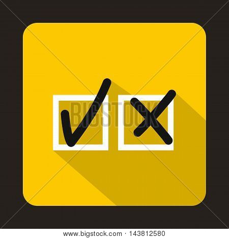 Tick and cross icon in flat style on a yellow background