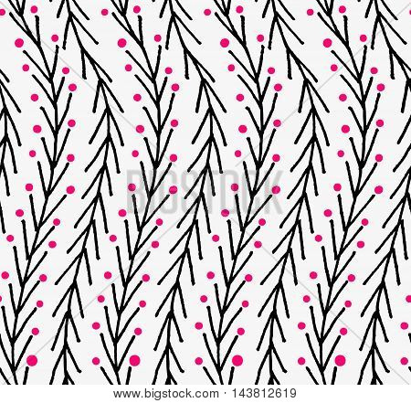 Artistic Color Brushed Wavy Chevron With Pink Dots